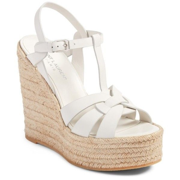 Women's Saint Laurent Tribute Espadrille Wedge ($695) ❤ liked on Polyvore featuring shoes, sandals, white leather, wedge heel sandals, espadrille sandals, white wedge espadrilles, leather sandals and strappy leather sandals