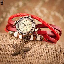 Heiße Frau Mädchen Vintage Lederarmband uhren Seesternen Dekoration Quarz-armbanduhr 4ZXC