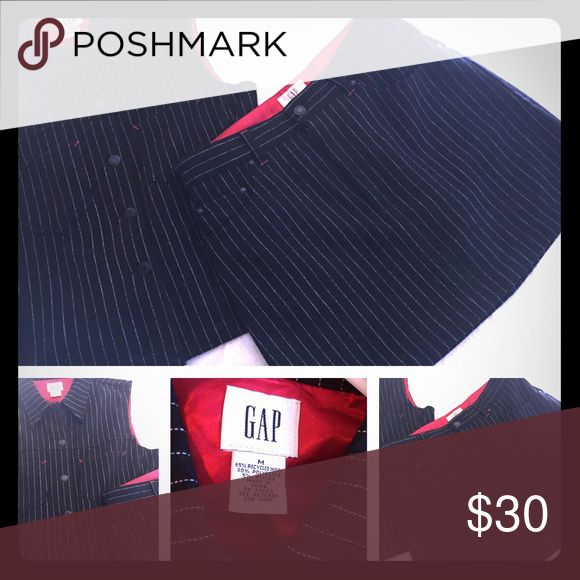 ❤️BOGO❤️ Sexy Wool Pinstripe Mini Skirt & Vest Gap brand sexy mini skirt with a matching vest!  This is old school classic look, can be worn with boots or heels, dressed up or down to fit your mood! Black with white pinstripes and red accents, this suit is ready for your closet! GAP Skirts Mini
