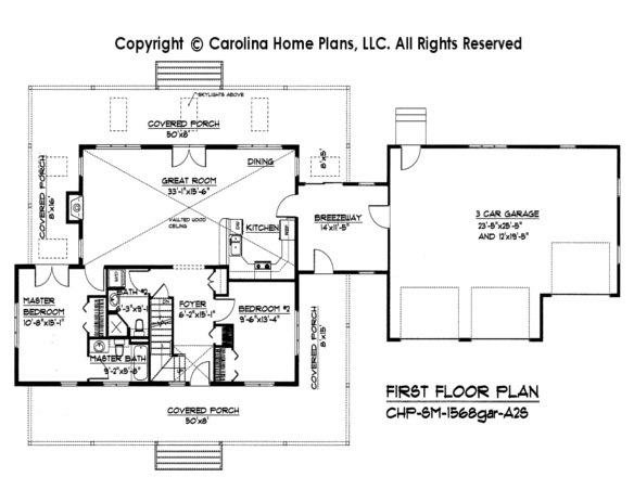 Small 2 story open house plan chp sm 1568 a2s sq ft for Affordable one story house plans
