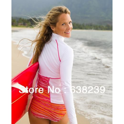2014 New Arrival Women Lycra Rash Guard Anti UV Swimwear Wetsuit Diving Suit Rashguard Surfing Windsurfing and Snorkeling Suit-in Rash Guard...