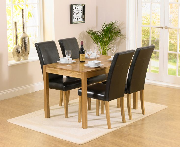 Buy The Oxford Solid Oak Dining Set With Albany Brown Chairs At Furniture Superstore
