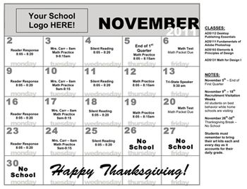 Use this customizable monthly calendar to send home with students showcasing classes, assignments, and/or school activities. Created in grey-scale for affordable printing, All text and numbers are able to be formatted to reflect your personal classes or