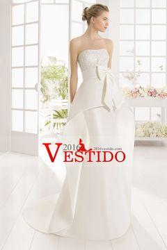 2016 moldeado sin tirantes de la blusa de la sirena de la boda vestidos de satén con el nudo del arco US$ 269.99 VEPQDZTEP3 - 2016vestido.com