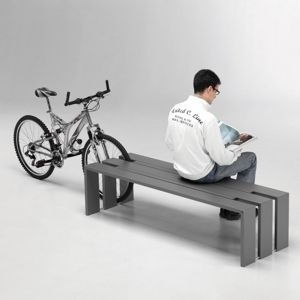 Public bench / contemporary / steel / with integrated bike rack TOSO by Studio Toso METALCO