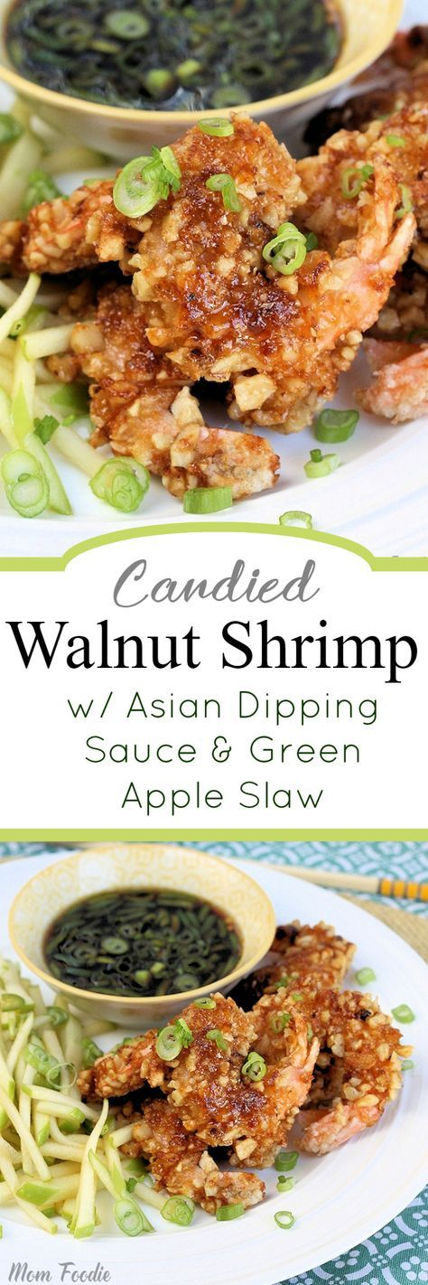 Candied Walnut Shrimp with Asian Dipping Sauce and Green Apple Slaw