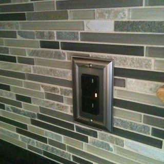 slate and glass tile with forest green in it is a great idea to update a bathroom or kitchen with forest green countertops or tile