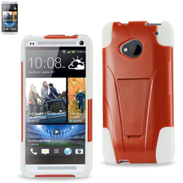 Reiko Silicon Case+Protector Cover For Htc One M7 New Type Kickstand Orange White