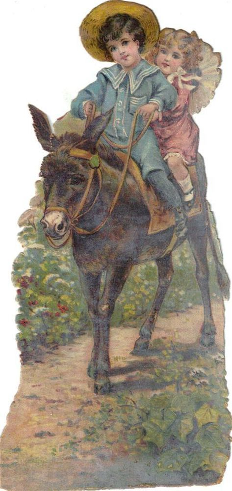 Larger Victorian Die Cut Scrap Girl & Sailor Boy w Donkey c1880s