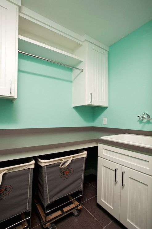 Gray and tiffany blue laundry room
