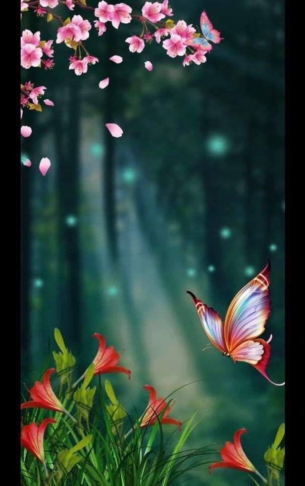 Pin By Priya On Animated Scene In 2019 Beautiful Flowers Wallpapers Butterfly Wallpaper Qhd Wallpaper