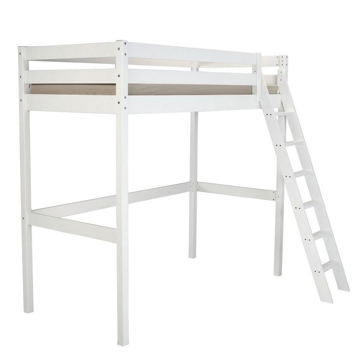 Mezzanine - Lit haut 1 personne Blanc - Alpin - Mezzanines et lits superposés - Les lits - Chambre - Décoration d'intérieur - Alinéa