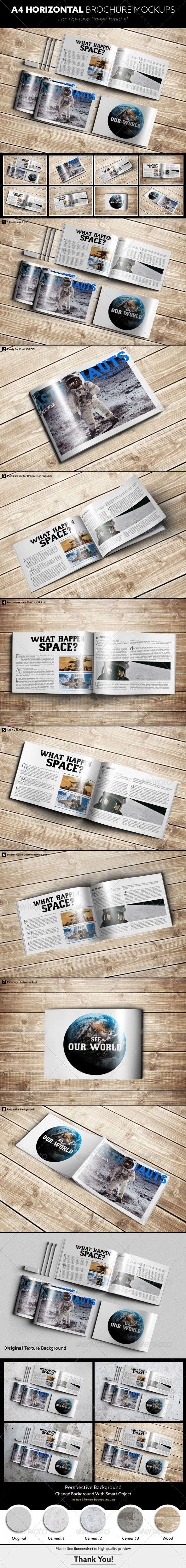 A4 Horizontal Brochure Mockups - Brochures Print