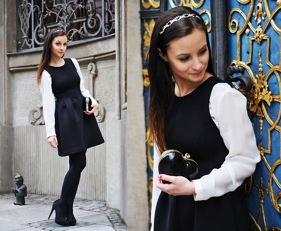 Get this look: http://lb.nu/look/5722563  More looks by Barbara Kucharska: http://lb.nu/basmilia  Items in this look:  Stradivarius Dress, Zara Blouse, Stradivarius Boots, Primark Bag   #glamour #barock #black #white #primark