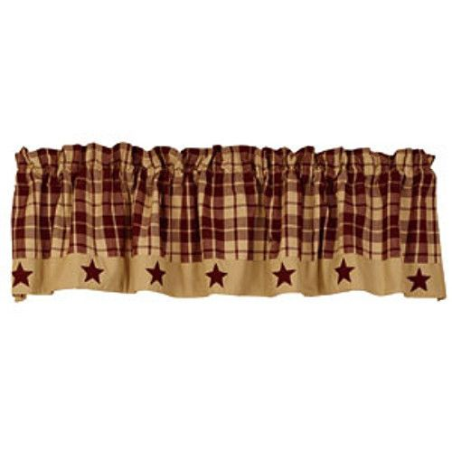 Exceptional New Primitive Country Farmhouse BURGUNDY TAN PLAID STAR Curtain Window  Valance