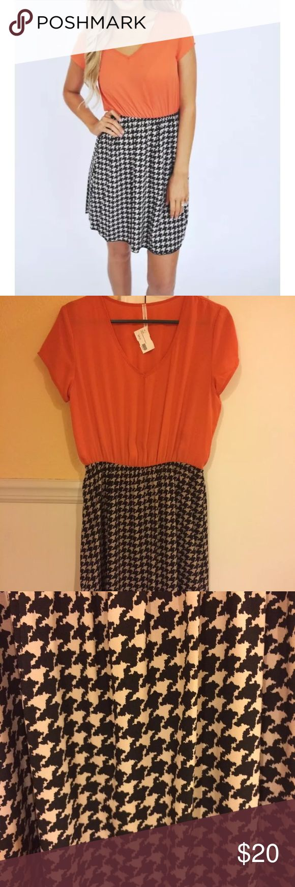NWT Dottie Couture orange houndstooth dress L NWT orange/houndstooth dress, bought from Dottie Couture boutique. Size L. Lined underneath. Make offer! My Story Dresses