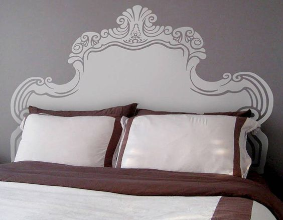Vintage Bed Headboard Wall Sticker - Contemporary Wall Stickers