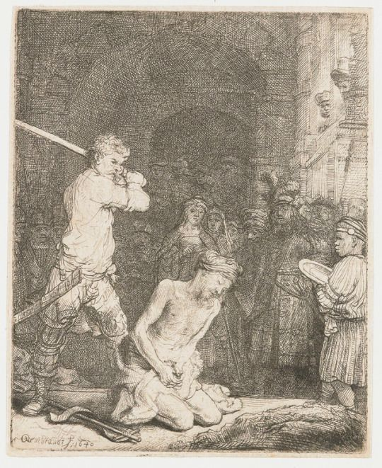 Rembrandt van Rijn - The beheading of John the Baptist.