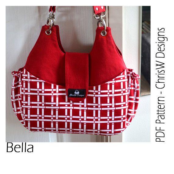 """Purse PDF pattern for Handbag - """"Bella"""", handmade floral bag, tote or shoulder bag"""