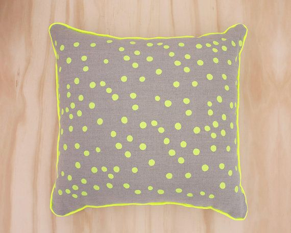 Neon+Yellow+Spot+Linen+Cushion+by+SeptemberDesign+on+Etsy,+$69.00
