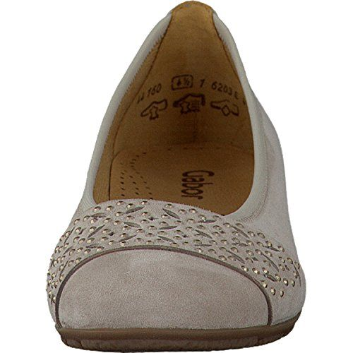 Gabor Fashion Damenschuhe 44.160.10 Damen Ballerinas Slipper Slip-On Leder (Wildleder) Beige (beige), EU 38 - http://on-line-kaufen.de/gabor/5-uk-gabor-glitz-damen-ballerinas-2