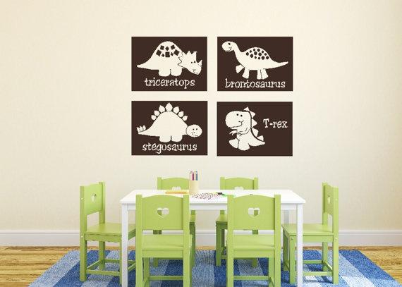 Dinosaur Blocks Nursery Childrens Vinyl Decal Boys Room T Rex Brontosaurus Triceritops Stegosaurus Set Of 4 Each 10 X 14