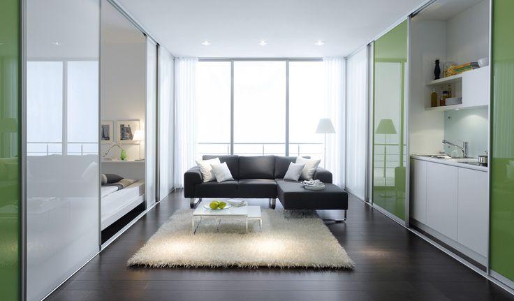 http://www.fittedwardrobes.info/sliding-door-wardrobes/Small Room, Glasses Partition, 2Nd Room, Room Deviders, Living Room Design, Room Ideas, Sliding Room, Room Dividers, Sliding Doors