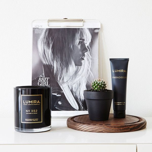No. 352 LEATHER & CEDAR. Shop now at The Candle Library. Lumira candles are hand crafted using 100% natural soy wax.
