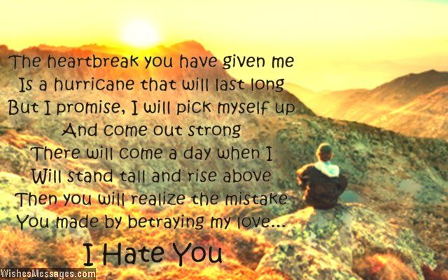 The heartbreak you have given me is a hurricane that will last long. But I promise, I will pick myself up and come out strong. There will come a day when I will stand tall and rise above. Then you will realize how big a mistake you made by betraying my love. I hate you. via WishesMessages.com