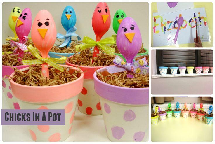 Plastic spoon chicks in terracotta pots