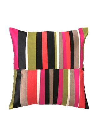 75% OFF Trina Turk Watercolor Stripe Embroidered Pillow, Pink, 20