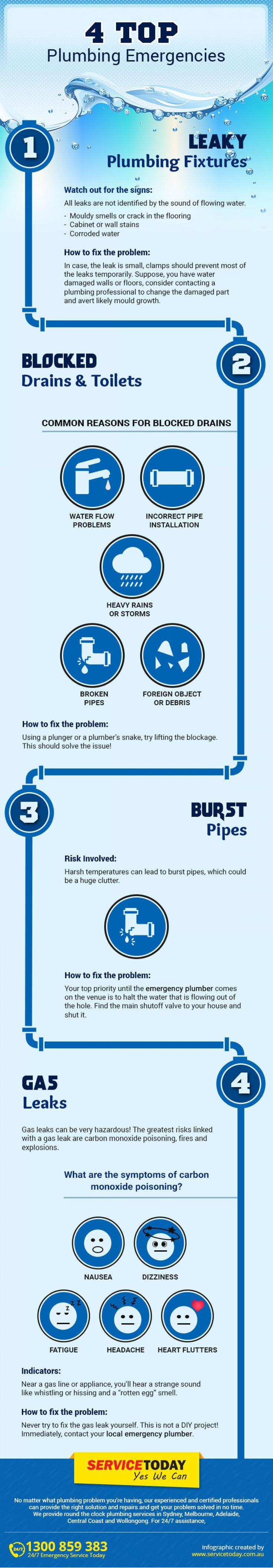 The Top Most #Plumbing Emergencies – InfoGraphic    #plumbingtips #plumber #plumbingsolution #leakytaps  #BlockedDrains #CloggedToilets #LeakyPipes #PlumbingEmergency