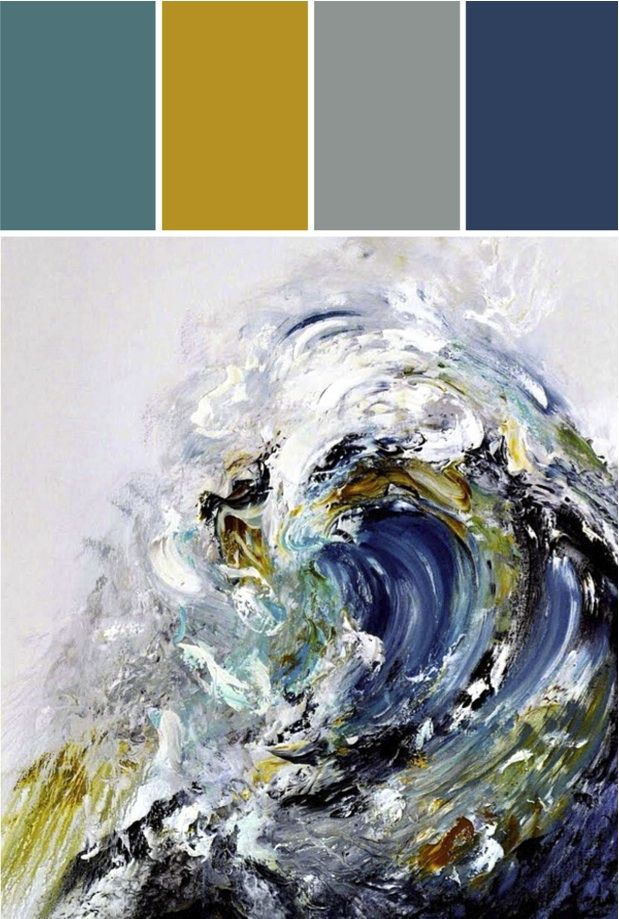 Our Colorboard this week was inspired by a STUNNING piece of art. We can see pulling carmel color out in natural wood tones, the main accent colors in navy and grey, and beautiful pops of teal and oxide yellow. Beautiful for a living space or perhaps a master suite, don't you think? #colorpalette