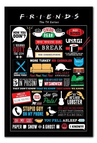 Friends TV Show Infographic Poster Black Framed & Satin Matt Laminated - 96.5 x 66 cms (Approx 38 x  @ NiftyWareHouse