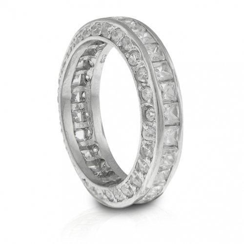 Bling Jewelry Sterling Silver Princess Cut CZ Stackable Eternity Ring