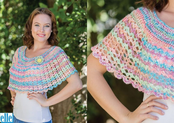 Shawlette  Brand: Elle Count: Double Knit Yarn: Tropical One size only
