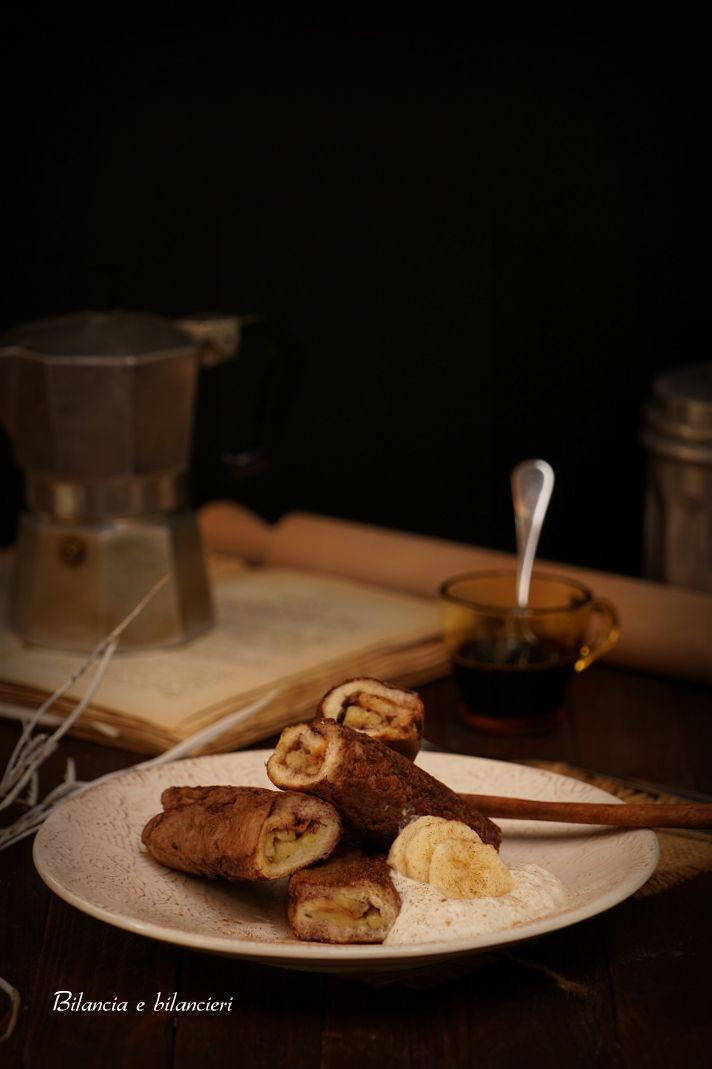 French toast rolls farciti con rondelle di banana alla cannella
