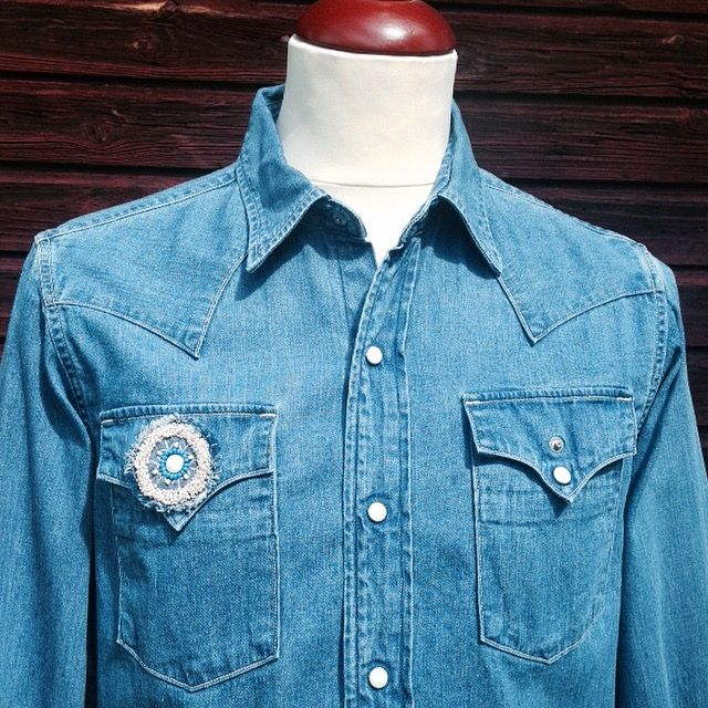 Kapital Western Shirt. (denim, blue hands, kountry, beads, made in japan)