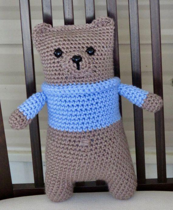 Snuggle Teddy Bear with Blue Sweater  Teddy Bear by TheBabyCrowTwo