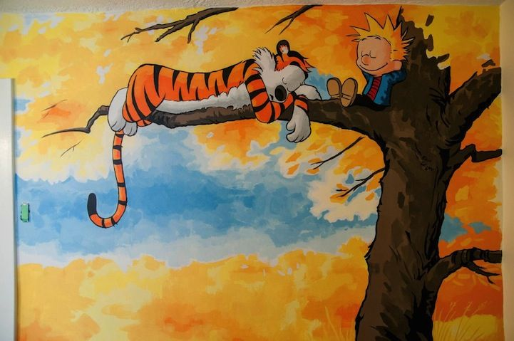 awesome calvin and hobbes mural painted for a nursery. Black Bedroom Furniture Sets. Home Design Ideas