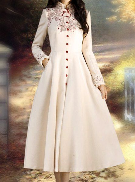 Retro Style Stand Collar Embroidered Long Sleeve Coat For Women