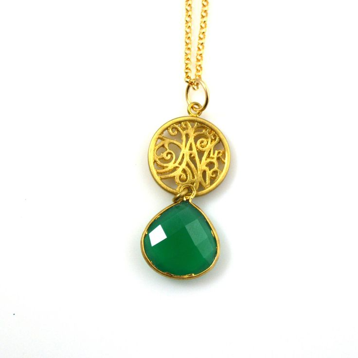 Portale Necklace in Gold with Green Onyx