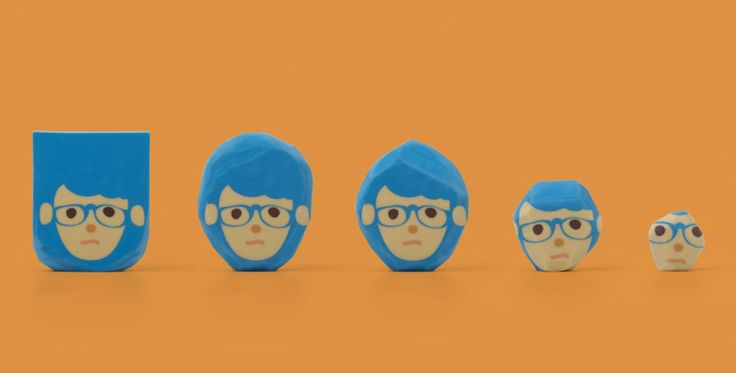 rubber barber hairstyle erasers by lu-wei chen, taiwan