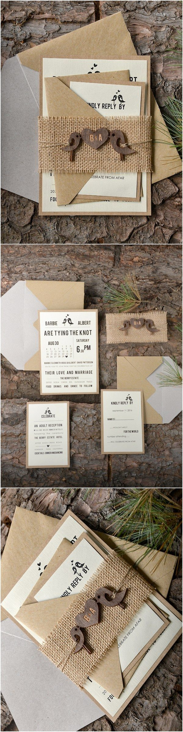 Rustic country barn burlap love Birds wedding invitations #rusticwedding #weddingideas #countrywedding @4LOVEPolkaDots