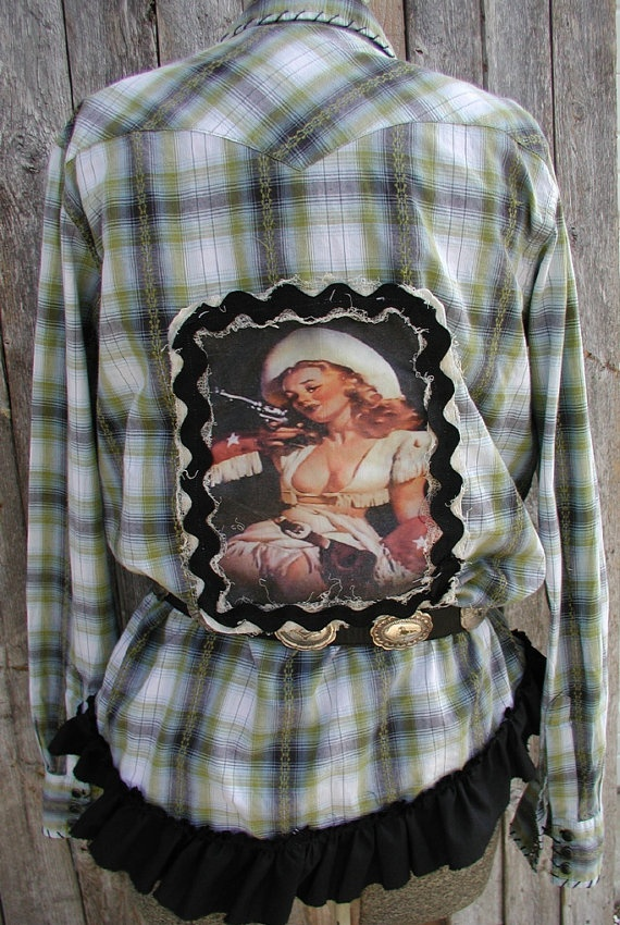 Upcycled Pearl Snap Western Shirt by tatteredgrace on Etsy, $42.00
