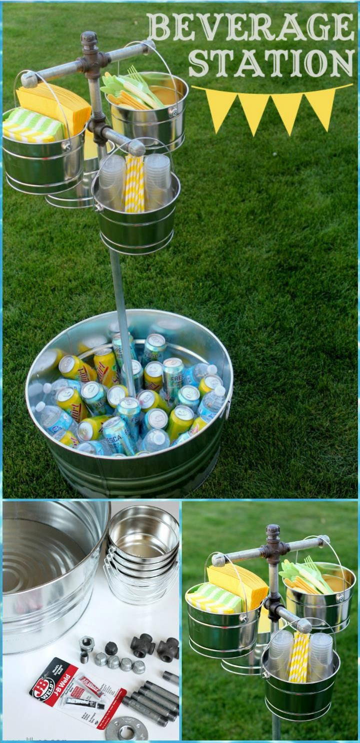 Meta Pipe & Bucket Graduation Party Beverage Station - 50+ DIY Graduation Party Ideas & Decorations