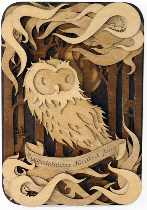 Wood cut owl artwork by Martin Tomsky
