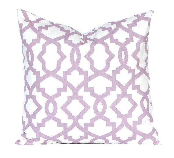 Beautiful lilac trellis print on winter white pillow covers. Use the size drop down menus to customize your selection.    Six coordinating