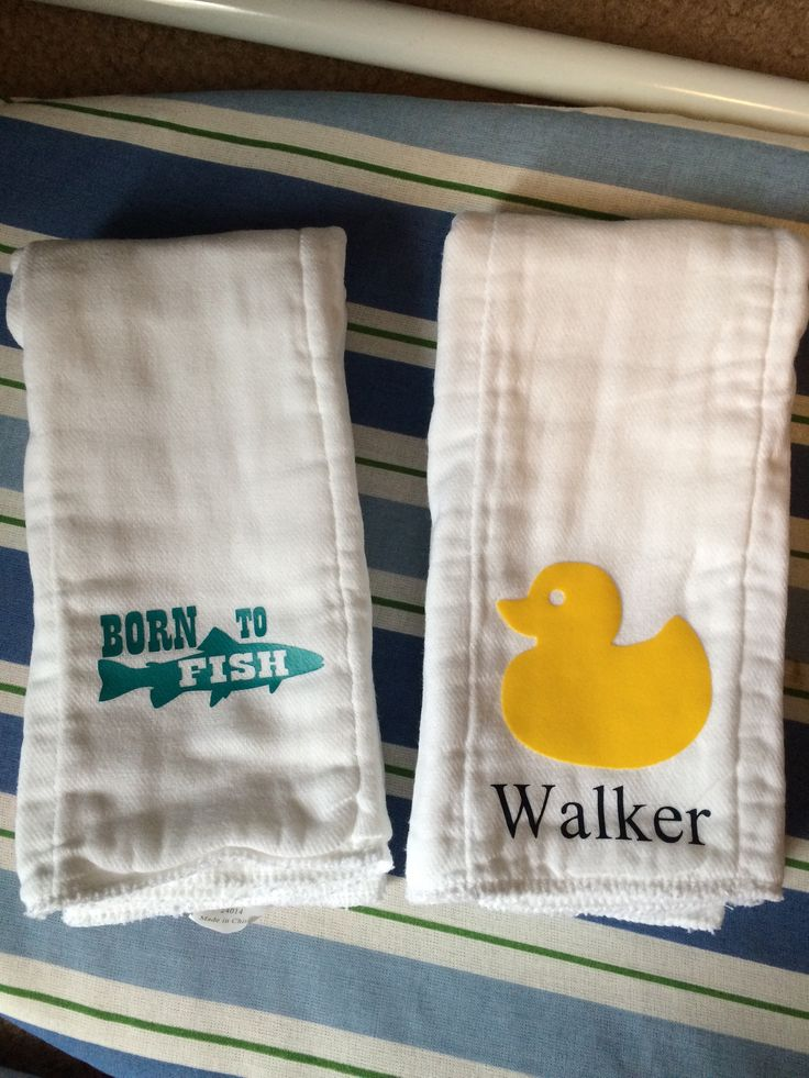 Baby Burp Cloths Diapers Made With Heat Transfer Vinyl