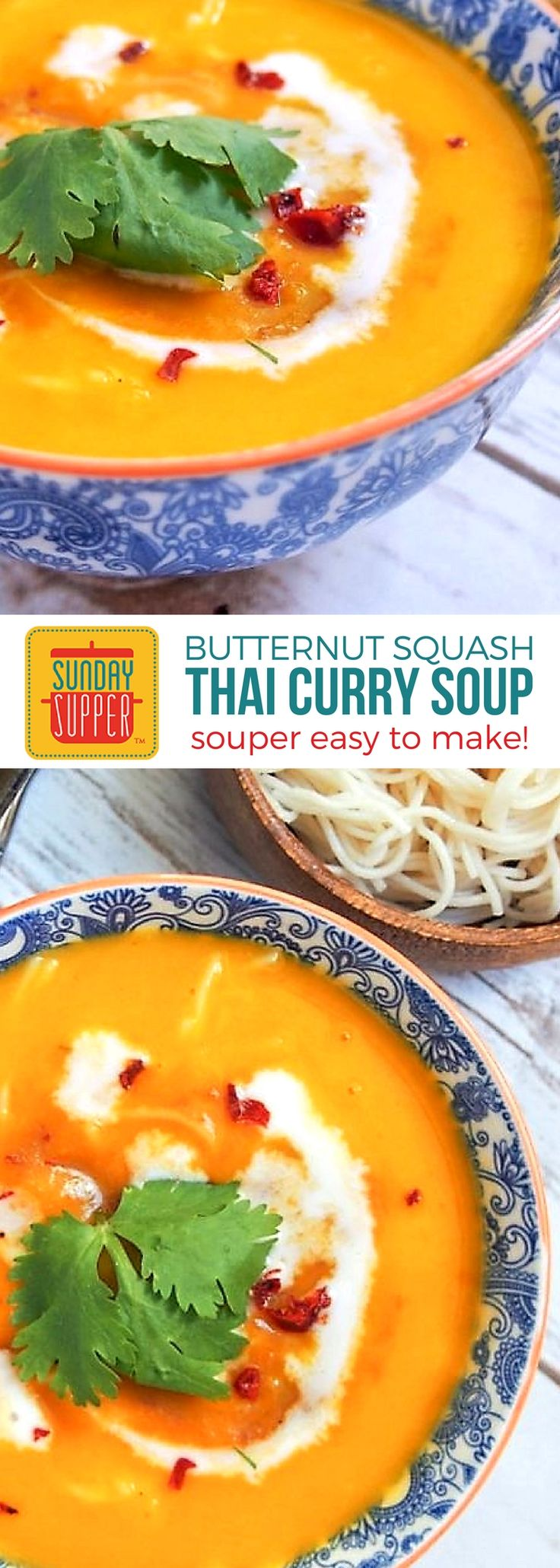 Thai Squash Soup is comfort food to warm your soul! Silky smooth butternut squash kicked up a notch with Thai curry flavor. A great big hug in a bowl! #SundaySupper #ComfortFoodRecipe #ThaiSquashSoup